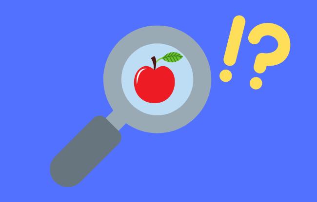 リンゴと虫眼鏡